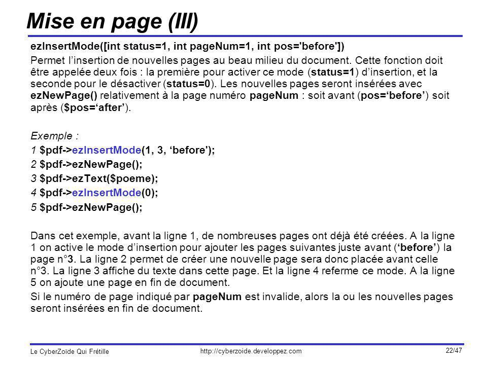 Mise en page (III) ezInsertMode([int status=1, int pageNum=1, int pos= before ])